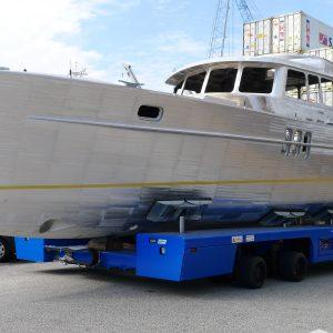 Aluminium Hull of the Korvet Motor Yacht being transported